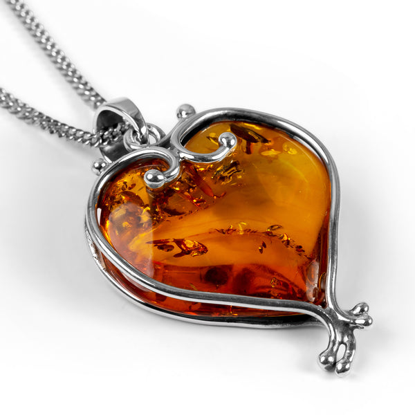 Heart Shape Baltic Amber and Silver Necklace - Natural Designer Gemstone
