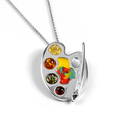 Small Artist Palette Necklace in Silver and Amber