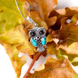 Wise Owl Necklace in Silver, Turquoise and Amber