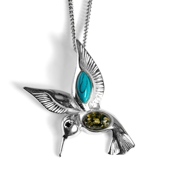 Hovering Hummingbird Necklace in Silver, Green Amber and Turquoise