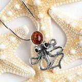 Statement Silver Octopus Necklace with Amber