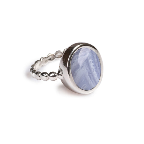 Large Oval Delicate Ring in Silver and Blue Lace Agate