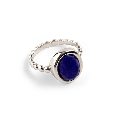 Large Oval Ring in Silver and Lapis Lazuli