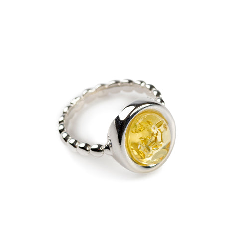 Large Oval Delicate Ring in Silver and Amber