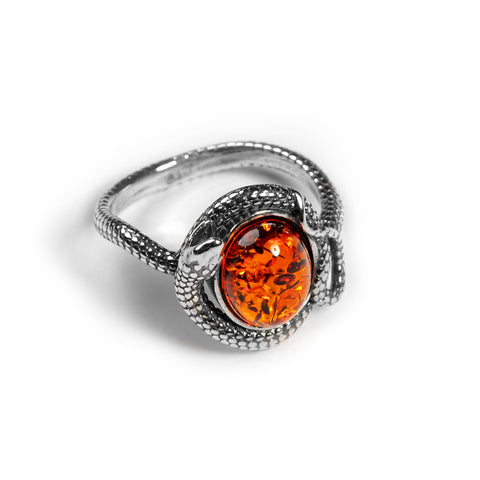 Snake Ring in Silver and Amber