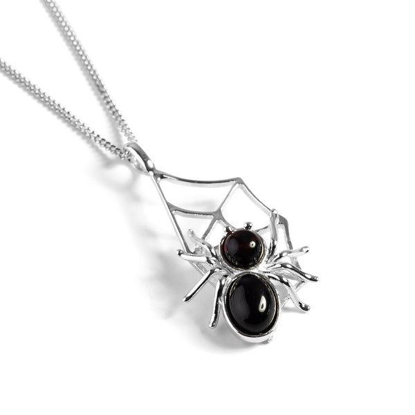 Spider on Web Necklace in Silver and Cherry Amber