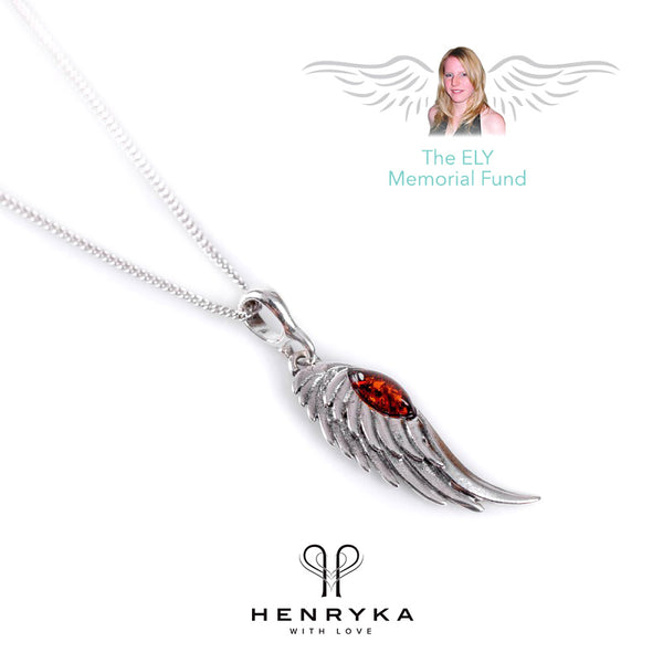 Angel Wing Necklace in Silver and Amber