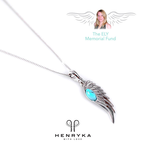 Angel Wing Necklace in Silver and Turquoise