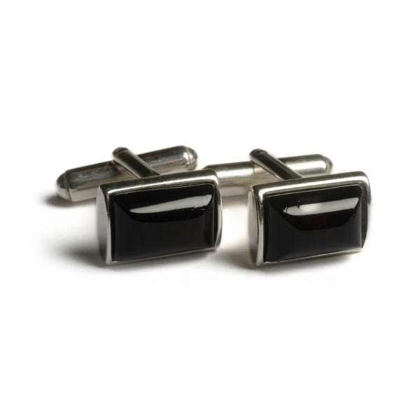 Simple Rectangle Cufflinks in Silver and Cherry Amber