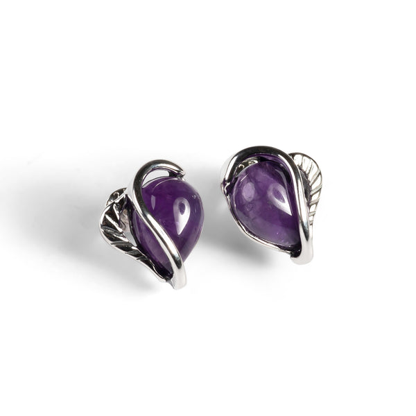 Amethyst Stud Earrings Set in Silver