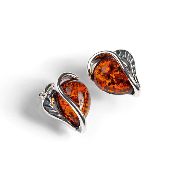 Cognac Amber Stud Earrings Set in Silver