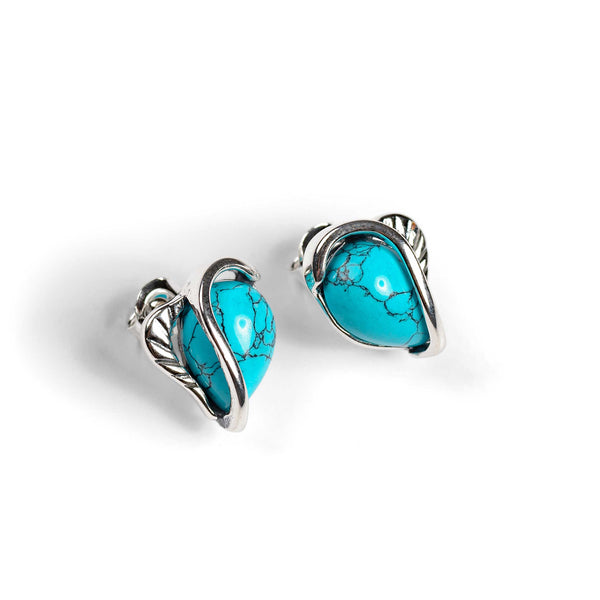 Turquoise Stud Earrings Set in Silver