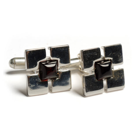 Square Centre Cufflinks in Silver and Cherry Amber