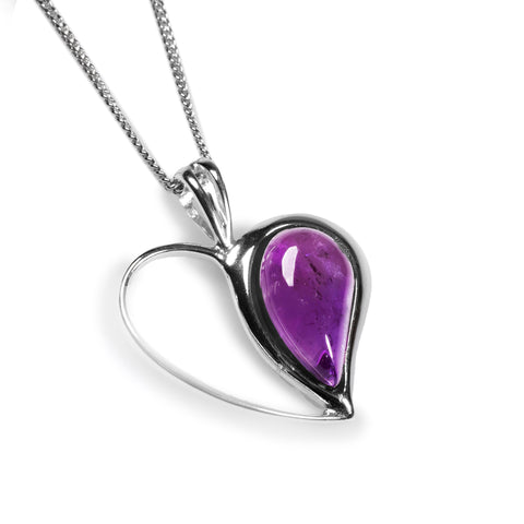 Half Love Heart Necklace in Silver and Amethyst