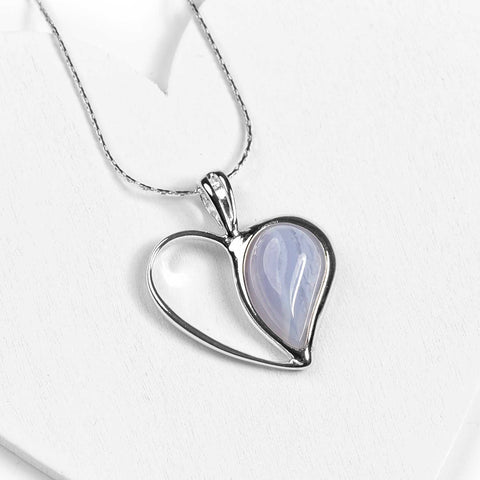 Love Heart Necklace in Silver and Blue Lace Agate