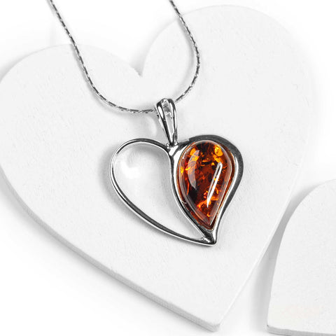 Love Heart Necklace in Silver and Amber