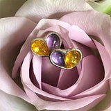 Heart Stud Earrings in Silver, Amethyst and Yellow Amber