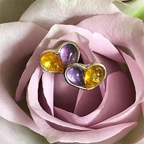 Small Split Heart Stud Earrings in Silver, Amethyst and Yellow Amber