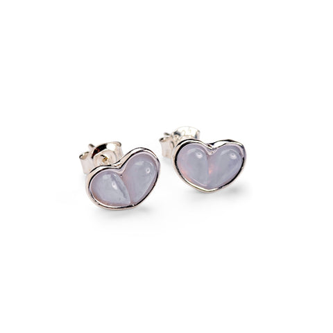 Heart Stud Earrings in Silver and Blue Lace Agate