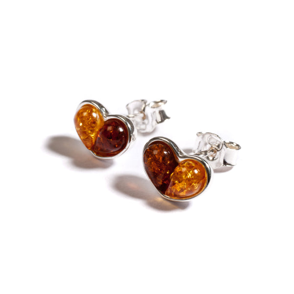 Heart Stud Earrings in Silver and Amber