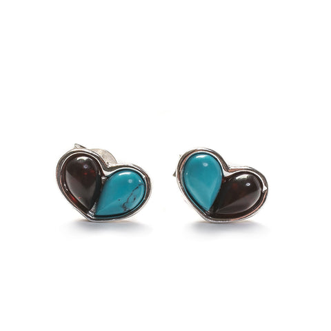 Heart Stud Earrings in Silver, Turquoise and Cherry Amber