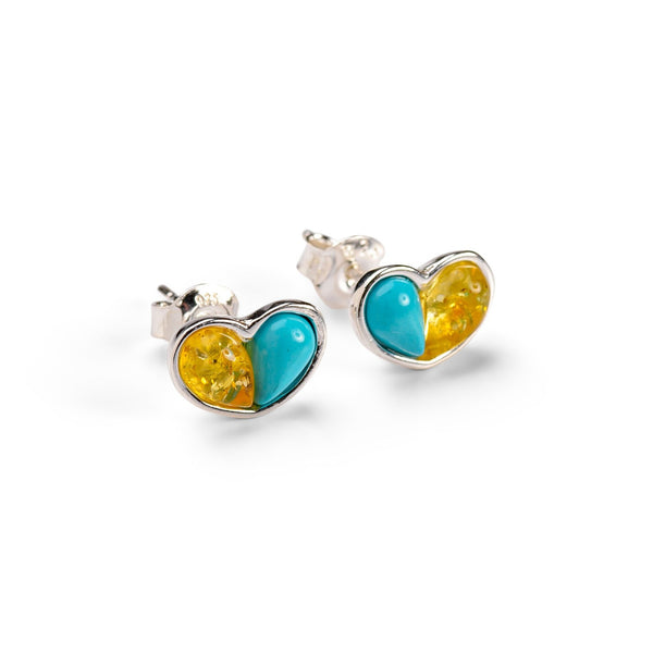 Heart Stud Earrings in Silver, Turquoise and Yellow Amber