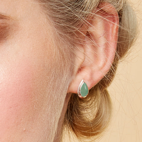 Teardrop Stud Earrings in Silver and Aventurine