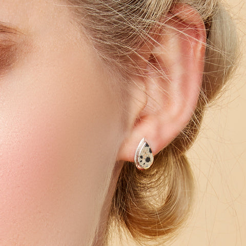Teardrop Stud Earrings in Silver and Dalmatian Jasper