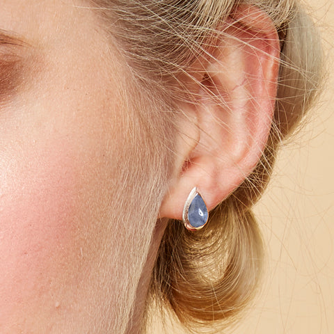 Teardrop Stud Earrings in Silver and Sodalite