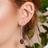 Lily Flower Drop Earrings in Silver and Amber