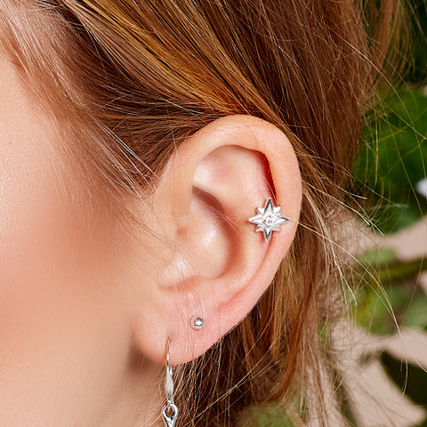 Star Burst Stud Earrings in Silver