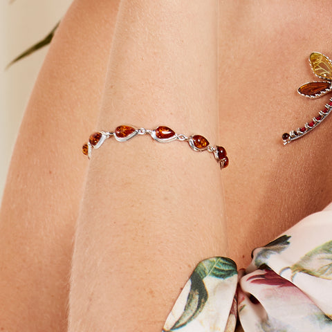 Teardrop Link Bracelet in Silver and Amber