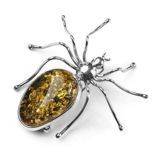 Handmade Large Spider Brooch in Silver and Green Amber
