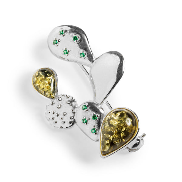 Cactus Brooch in Silver and Green Amber
