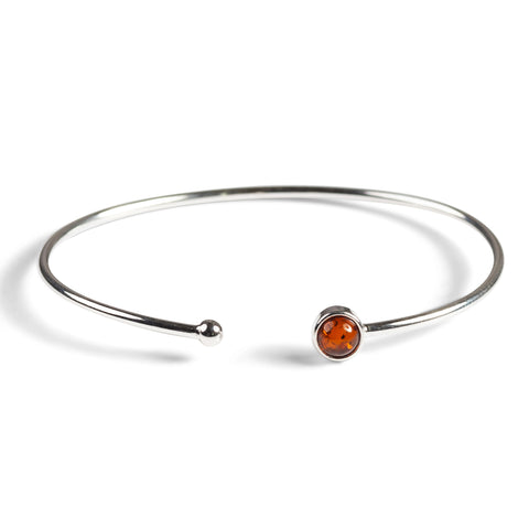 Simple Solo Cuff Bangle in Silver and Amber
