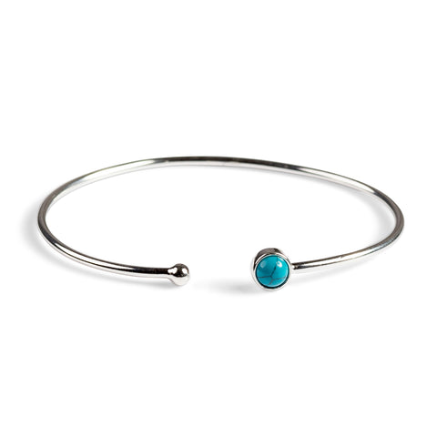 Simple Solo Cuff Bangle in Silver and Turquoise