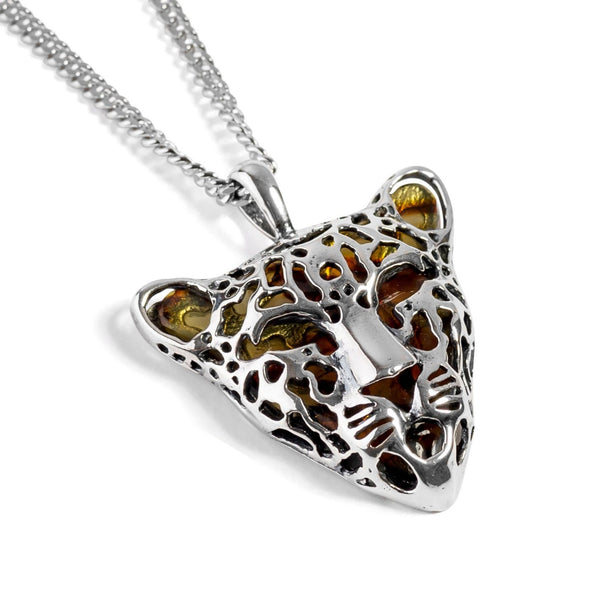 Leopard Head Necklace in Silver and Amber