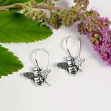 Cute Honey Bee Drop Earrings in Silver
