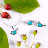 Bird Stud Earrings in Silver and Turquoise