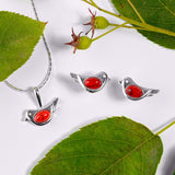 Tiny Bird Stud Earrings in Silver and Coral