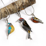 Goldfinch Bird Necklace in Silver, Coral and Amber