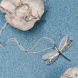 Dragonfly Necklace in Silver and Blue Lace Agate