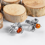 Bumble Bee / Bumblebee Cufflinks in Silver and Cognac Amber