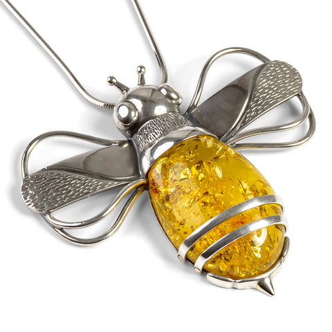 Statement Bumble Bee Necklace in Silver and Yellow Amber