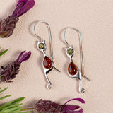 Cat Drop Earrings in Silver ad  Cognac and Green Amber