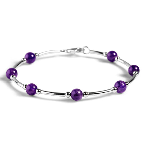 Bead Tube Bangle in Silver and Amethyst