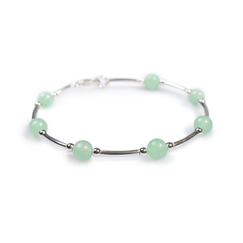 Bead Tube Bracelet in Silver and Aventurine