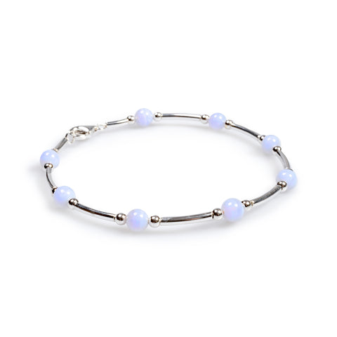 Bead Tube Bracelet in Silver and Blue Lace Agate