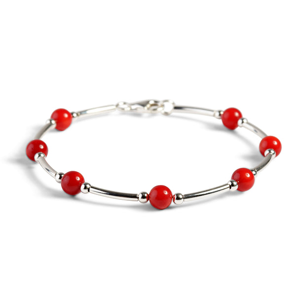 Bead Tube Bangle in Silver and Coral