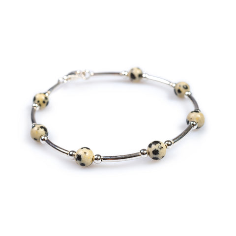Bead Tube Bracelet in Silver and Dalmatian Jasper